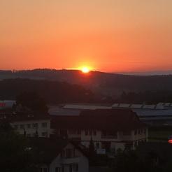 The summer sunset in Givisiez