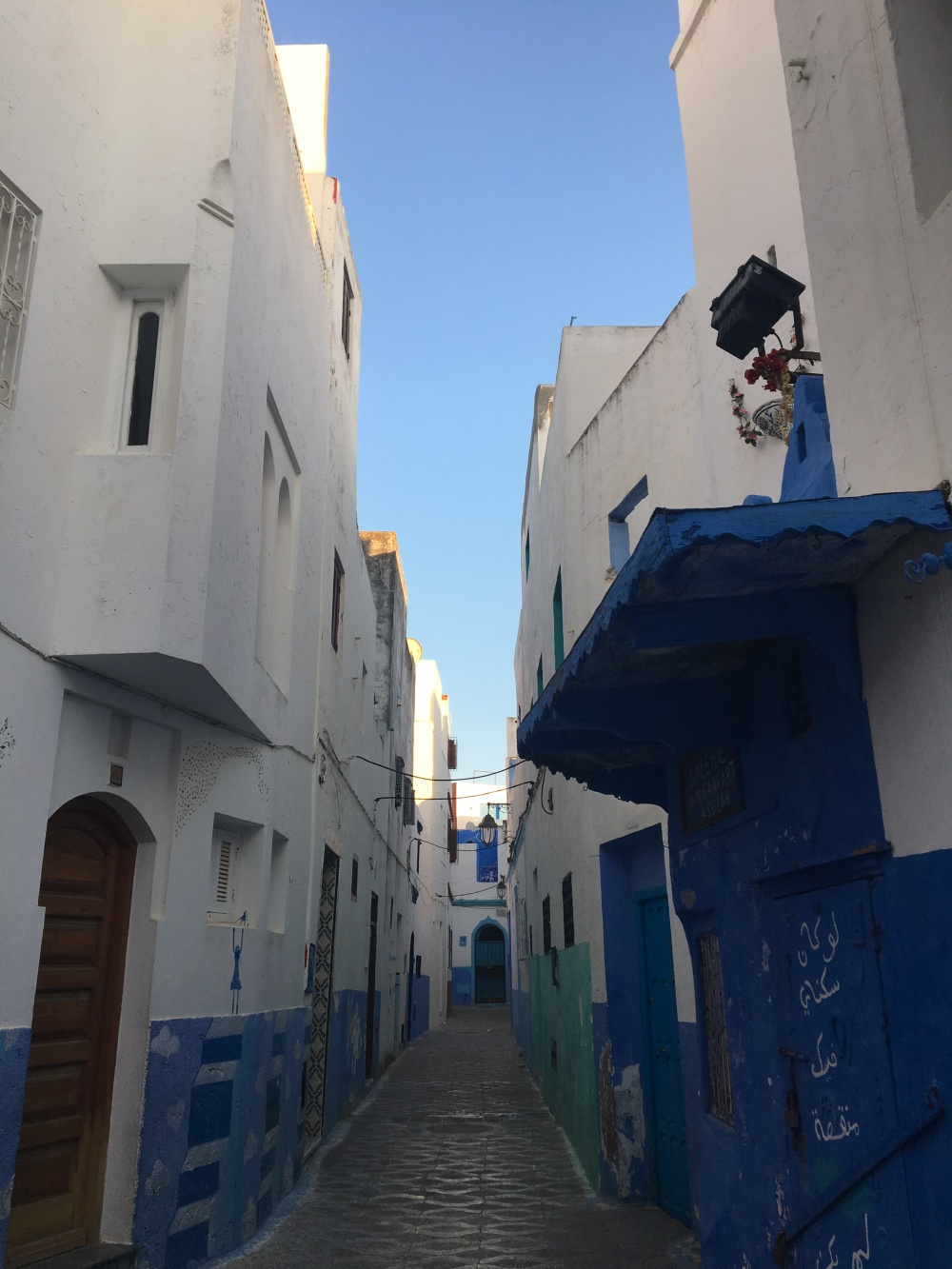 narrow blue street