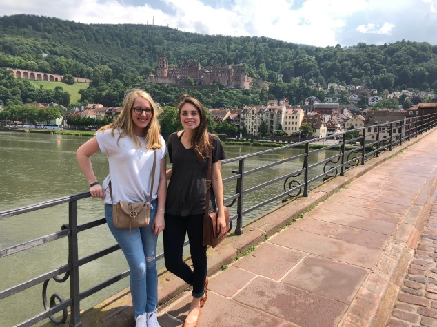 My friend Maggie and I on the Old Bridge, crossing the Neckar River