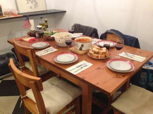 Family Dinner at the girls' apartment