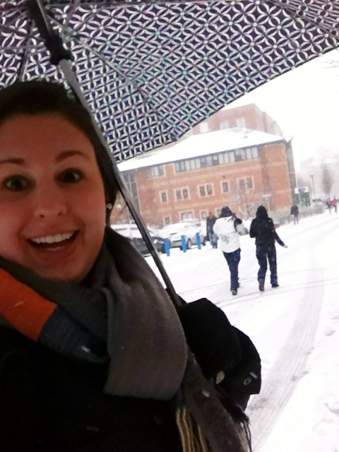 On the way to pick up my package today. Hi blizzard. Hi weird, umbrella-ed American.